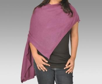Pure Cashmere Knitted Purple Shawl