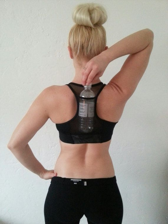 f27c7abf21 Sexy Black Size Medium Hydro-Pocket Sports Bra with a mess pocket to carry  a water bottle pocket on the back while working out..  Alexa Buckner