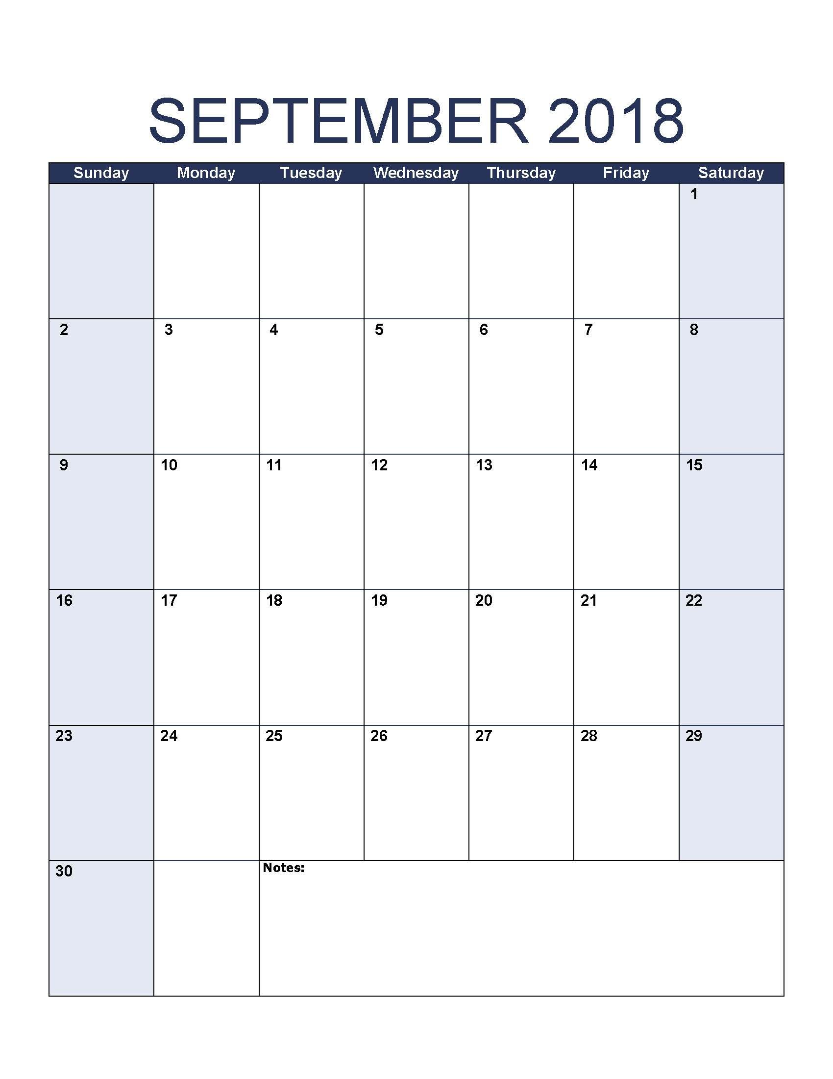 Blank September 2018 Calendar Download Printable September 2018