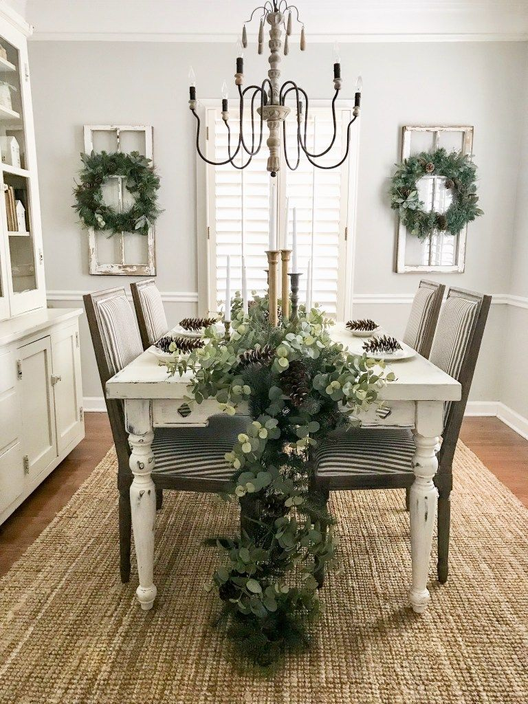 Neutral Christmas Entryway and Dining Room Tour images