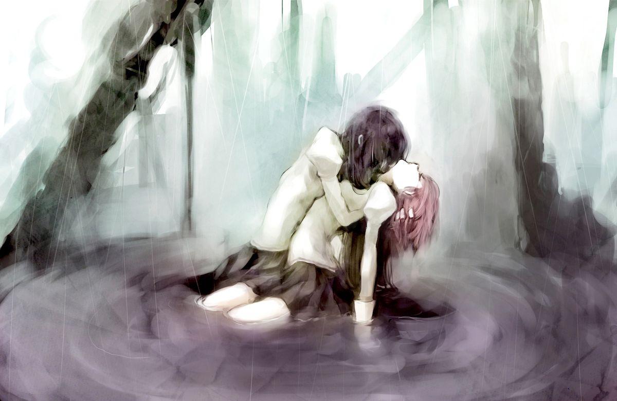 Magica Mobili ~ Akemi homura anime girls brunettes hugging kaname madoka mahou