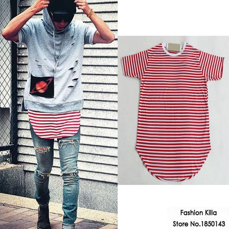 c85ec1786fa summer style mens hiphop designer red striped t shirt extended tee men  curve bottom shirts kanye
