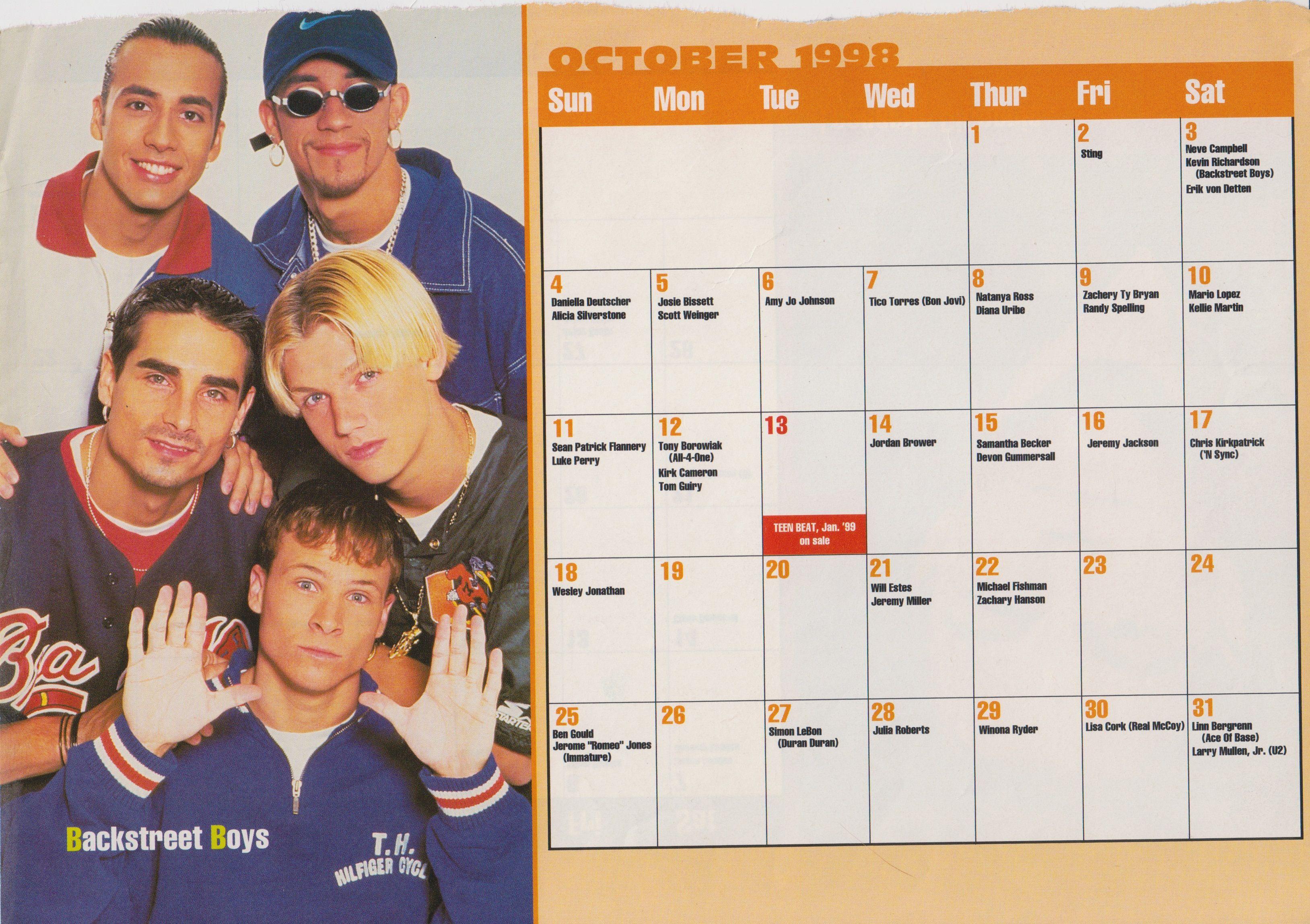 1999 Celebrity Birthday Calendar October Backstreet Boys