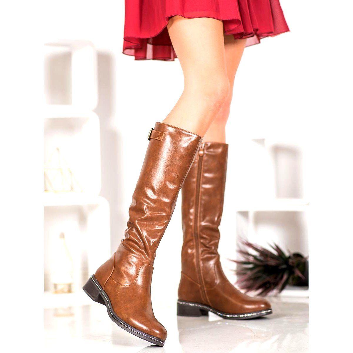 Abloom Kozaczki Z Cyrkoniami Brazowe Boots Fashion Over Knee Boot