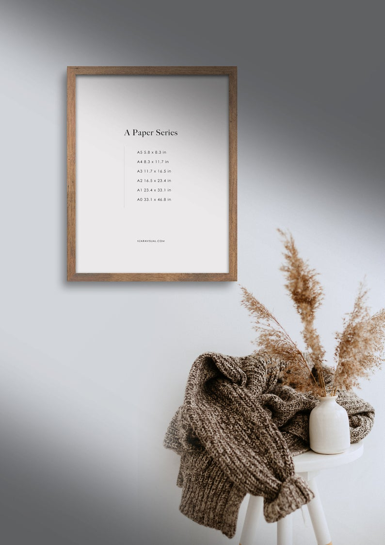 Frame Mockup 283 Walnut Wood Portrait Photo Frame Styled Thin Frame Mock Up A4 Wall Art Display Psd Smart Object In 2020 Photo Frame Style Frame Mockups Art Display