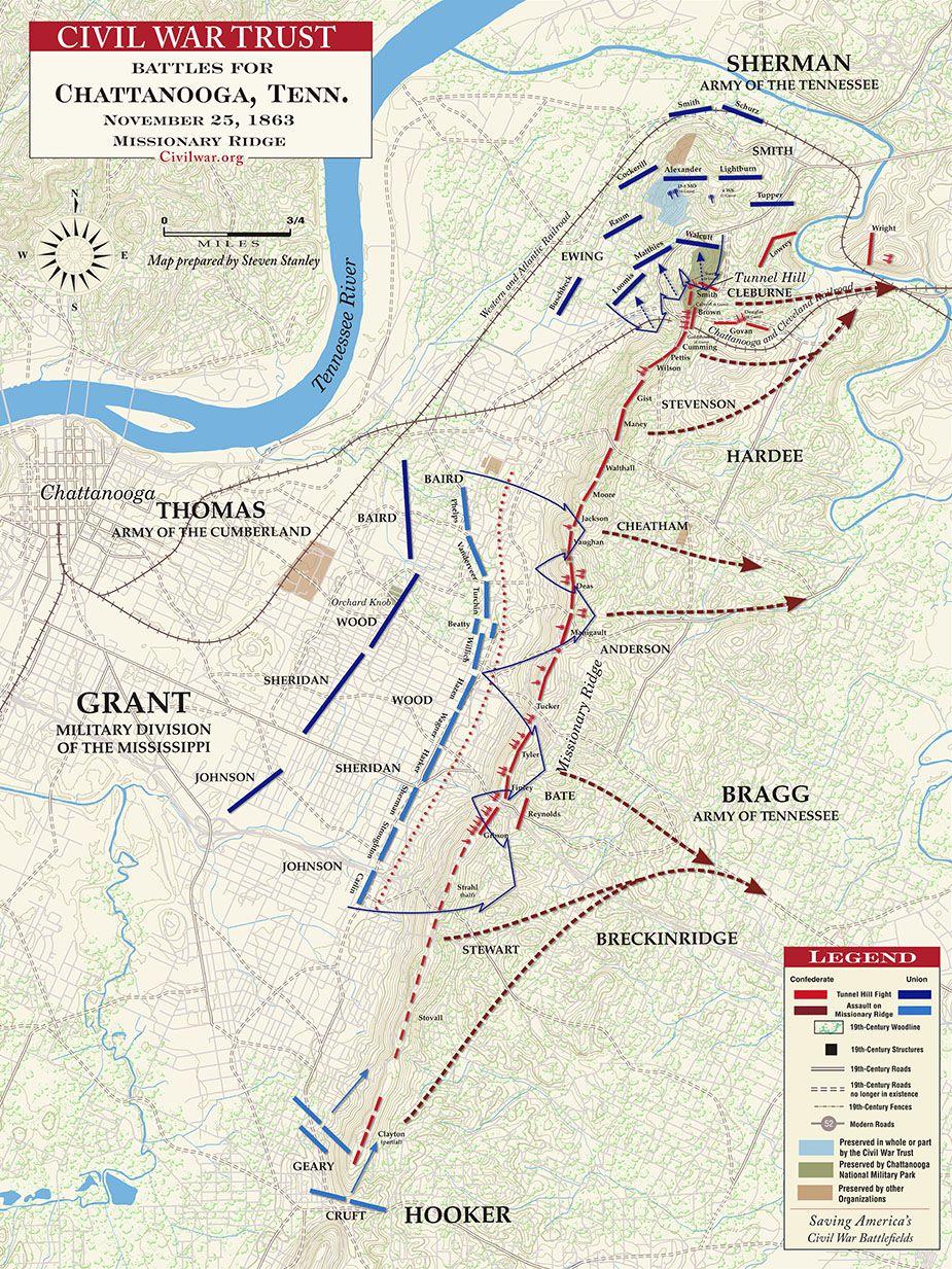 Civil War Battle Maps Battle Of Missionary Ridge Civil War - Where is chattanooga