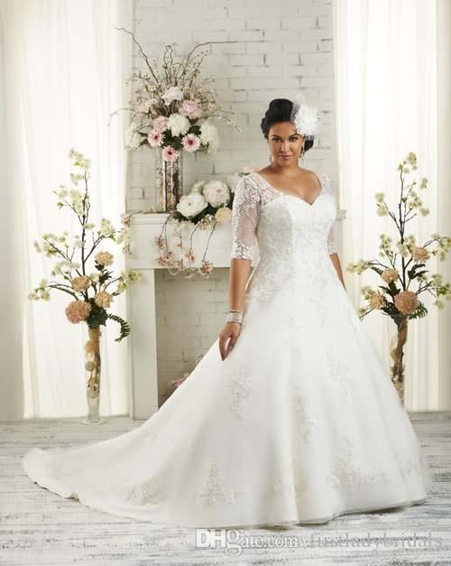 Plus Size Wedding Gowns Mermaid With Sleeves Appliques Lace