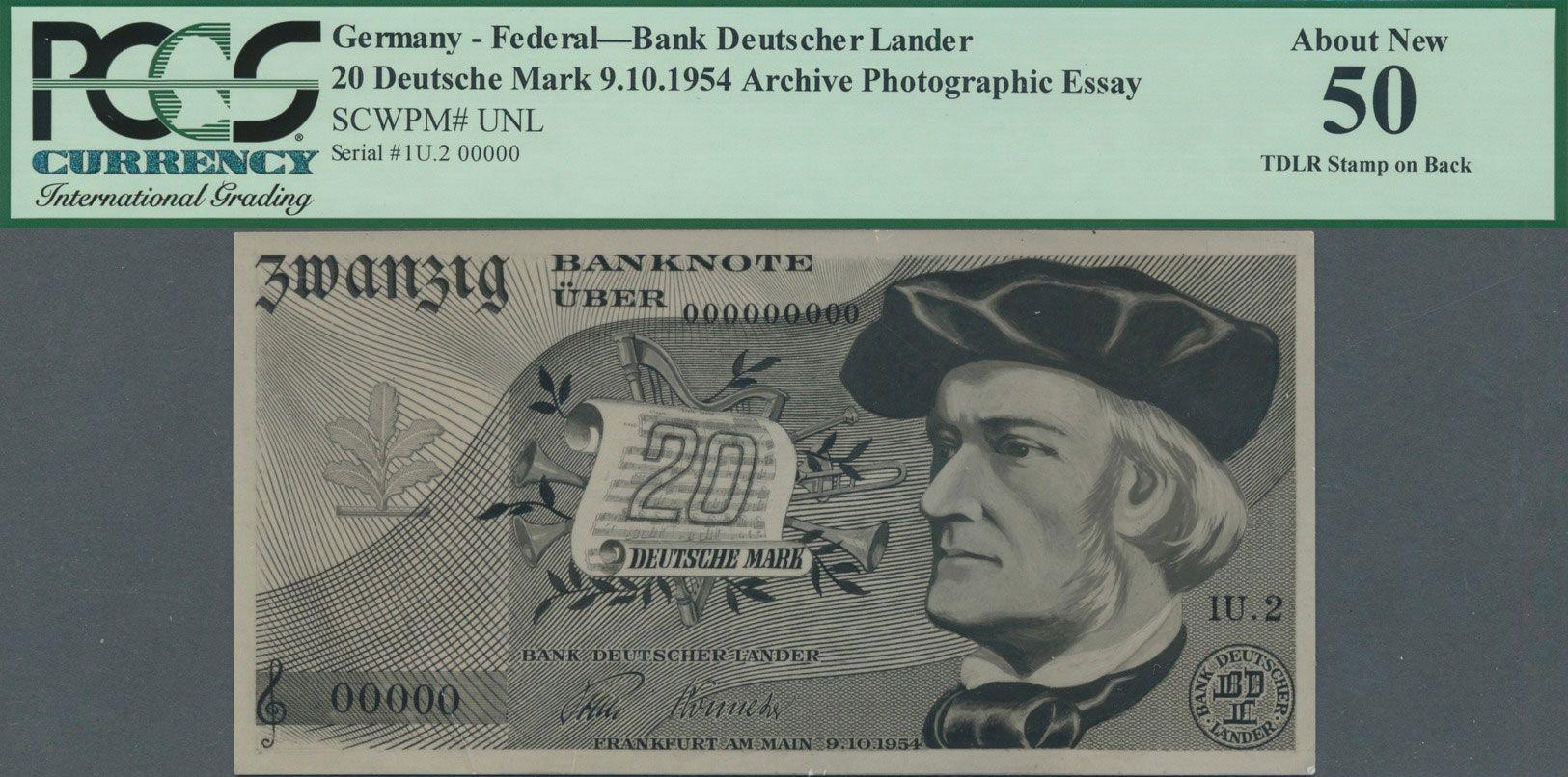 Unbekannter Entwurf 20 Dm 1954 Der Bank Deutscher Lander Deutschland Bundesrepublik Brd Dm Entwurf Papiergeld Banknote Geldschei Bank Geldscheine Geld