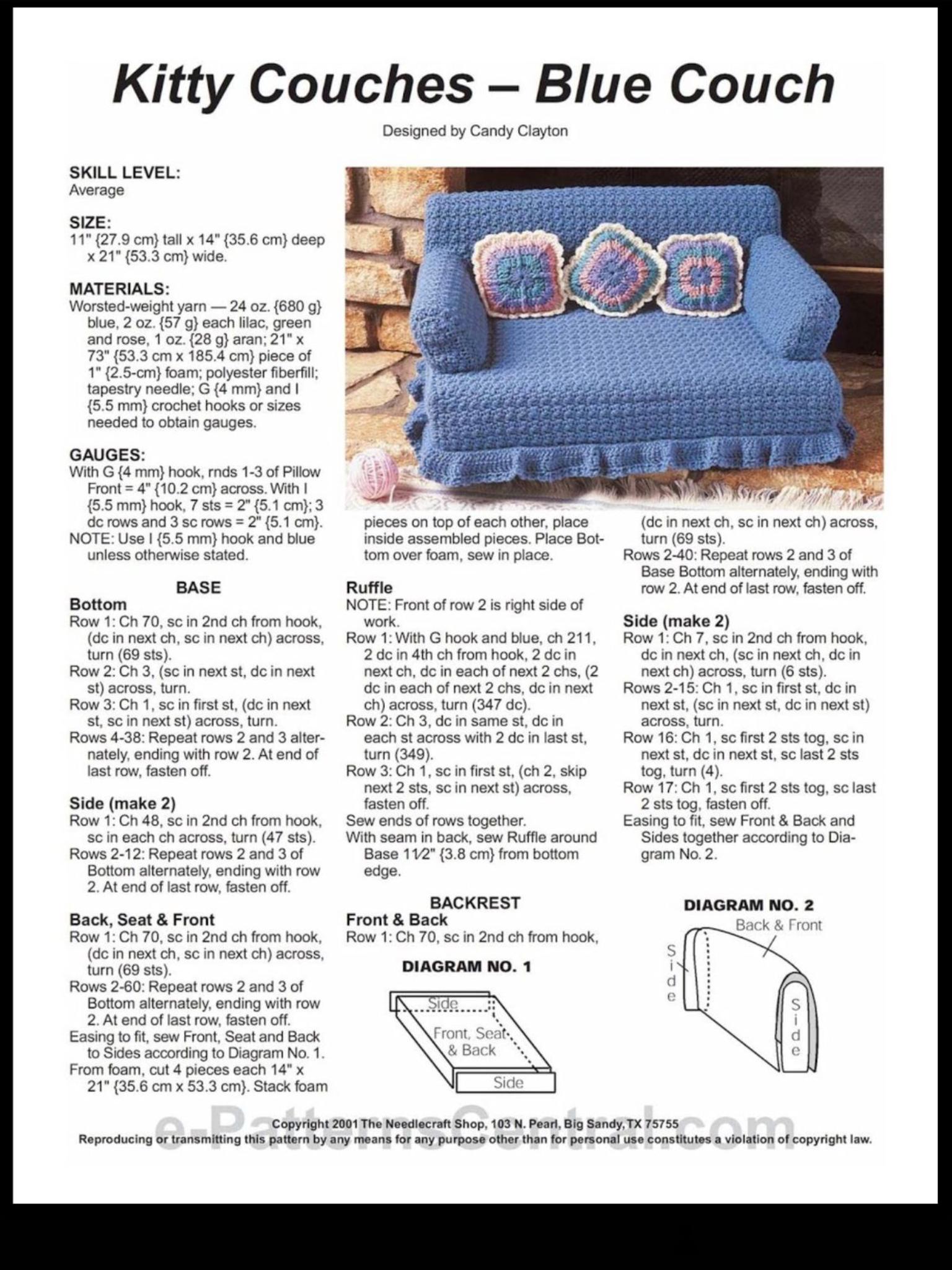 Pin By Lelah Estes On Muebles Para Barbie Crochet Furniture Crochet Cat Toys Crochet Cat Bed