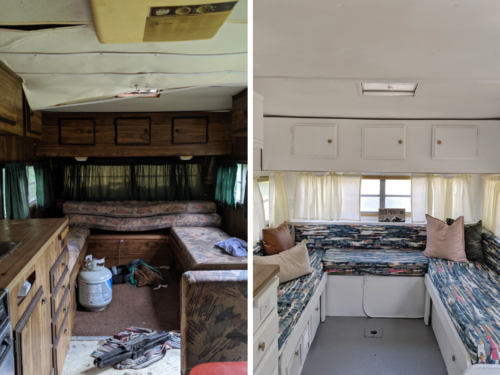 Before and After Pictures of our 1977 Vintage Camper