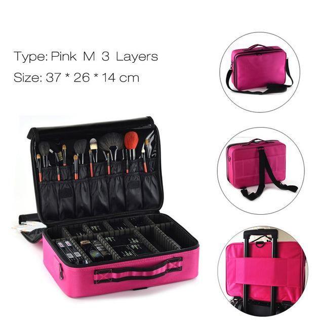 Photo of Fashion Cosmetic Bag Travel Makeup Organizer Professional – Pink M 3 Layers