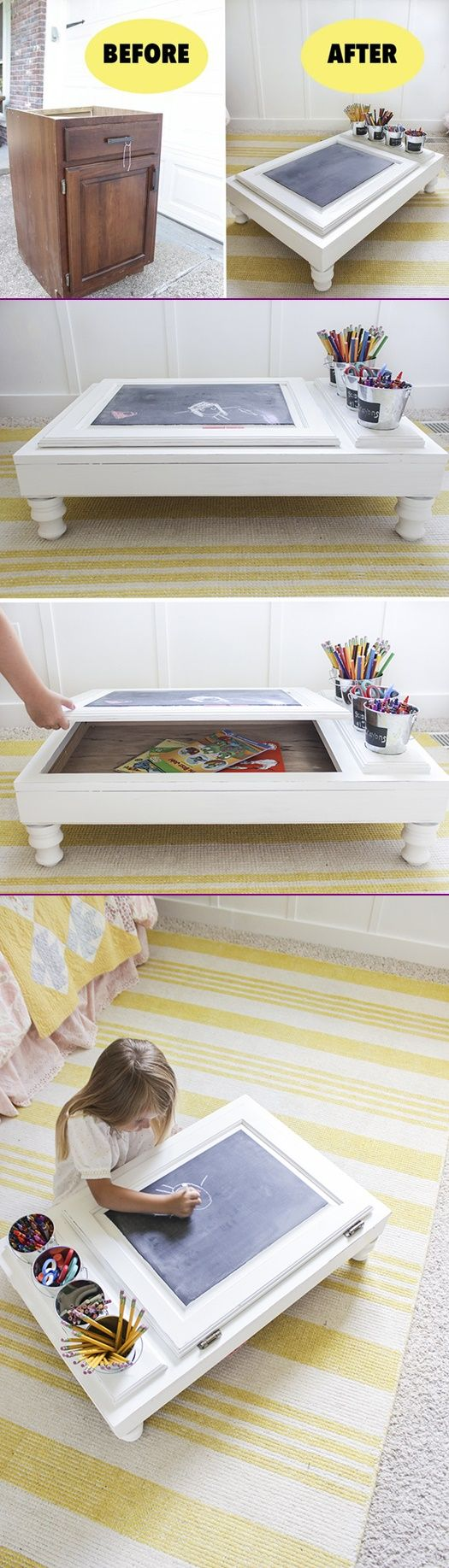 Turn cabinet door into art desk tutorial crafts furniture