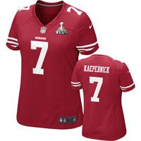 Colin Kaepernick Women's Super Bowl XLVII Jersey: Red Game Replica #7 Nike  San Francisco