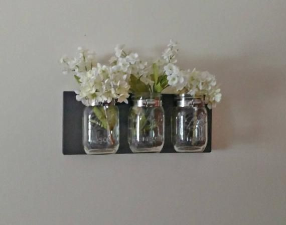 Rustic Mason Jar Organizer Bathroom Decor Rustic Farmhouse Wll Decor Multiple Colors #masonjarbathroom