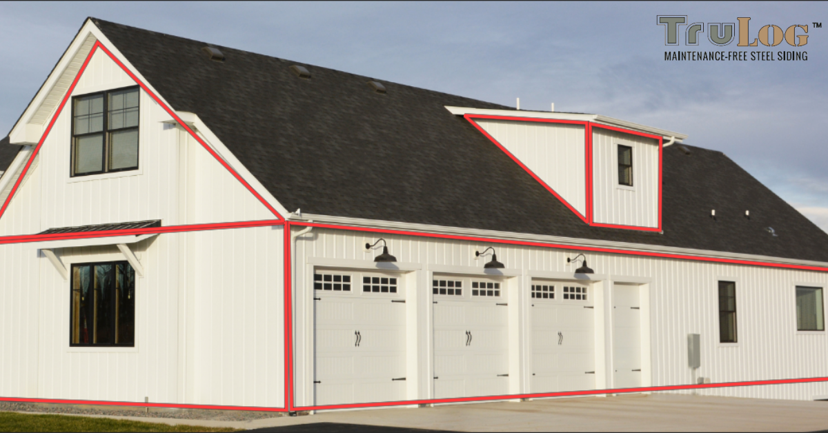 Need help measuring your house? Contact TruLog and we can help you! Get our maintenance-free siding and never paint your house again! #trulog #steelsiding #countryhome #rustic #renovation #newbuild #modernfarmhouse #metalsiding #measure #boardandbatten #bandominium #farmhouse #whiteboardandbatten