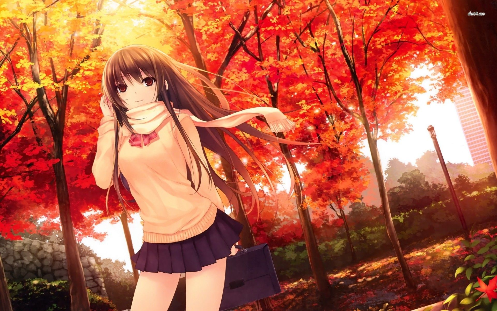 Fall In Love Girl Wallpaper : 14665-girl-in-the-autumn-park-1920x1200-anime-wallpaper.jpg (1920x1200) Slice of Life ...