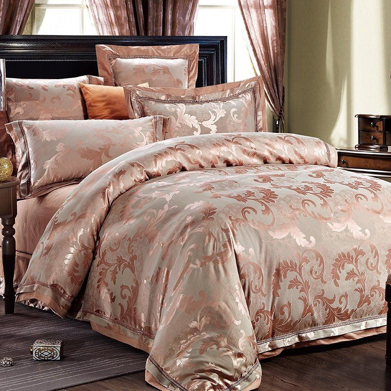 Best Bedroom Colors For Sleeping: Luxury Rose Gold And Gray Leaf Pattern Sequin Vintage