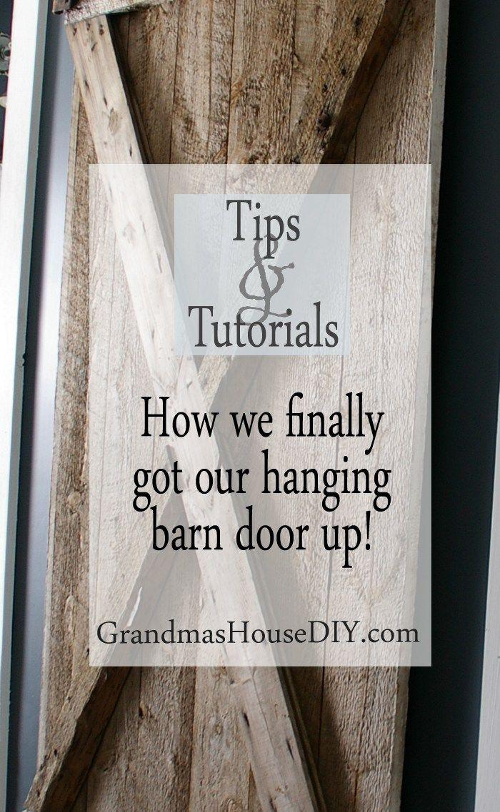 I finally got my hanging barn door up hanging barn doors barn hanging barn door country home tutorial diy do it yourself tutorial solutioingenieria Choice Image