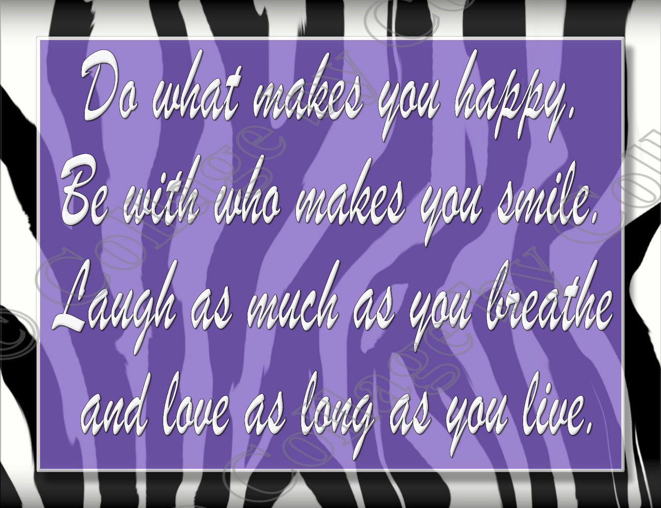 Zebra Print Girls Decor Wall Art Poster Purple Love Laugh