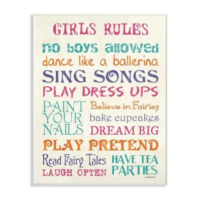 The Kids Room By Stupell 13 In X 19 In Pink Teal Orange And Purple Girls Rules By Debbie Dewitt Printed Wood Wall Art Multi Colored Wood Wall Art Kids Wall Decor