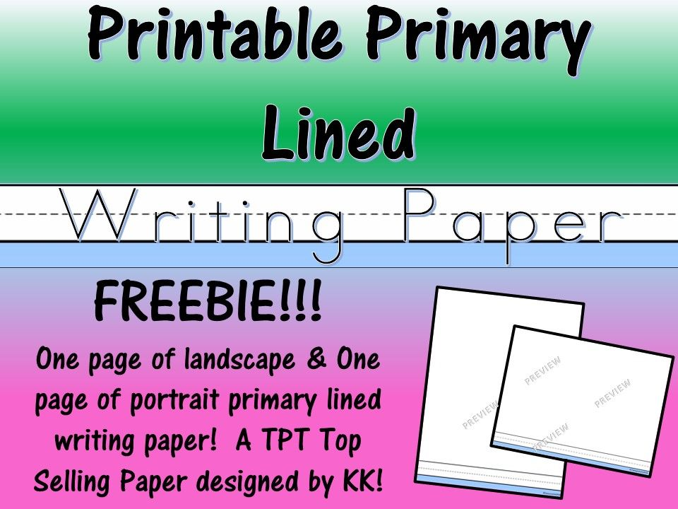 FREE Printable \/ Reproducible Primary Lined Paper FREEBIE in - elementary lined paper template