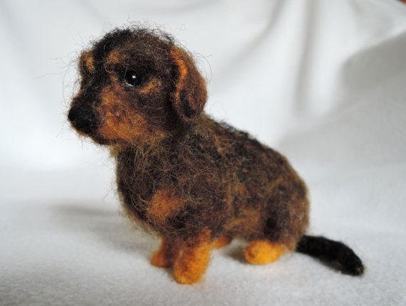 Needle Felted Dog Wire Haired Dachshund Dackel Dog Sculpture