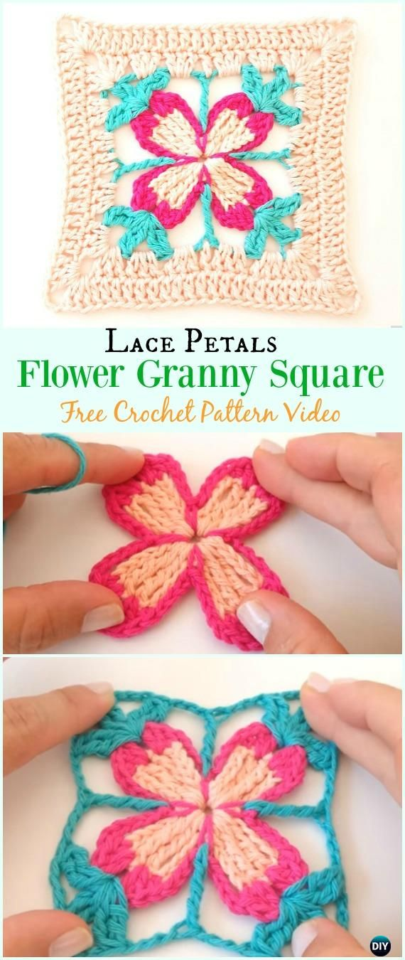 Crochet Lace Petal Flower Granny Square Free Pattern Video ...