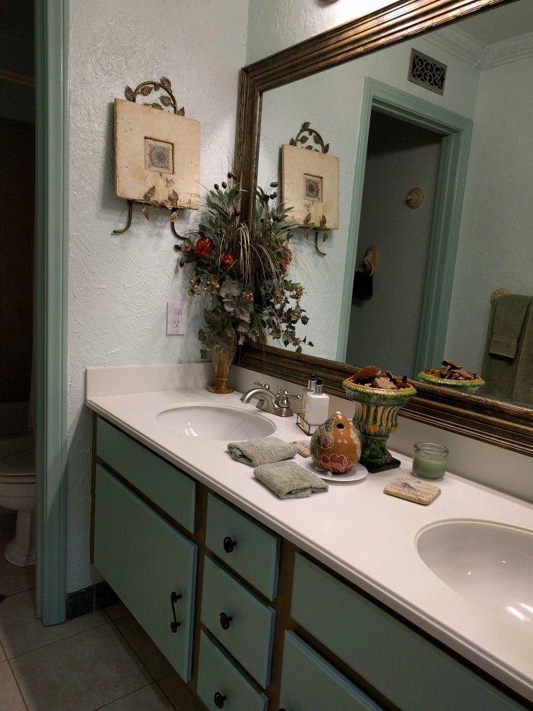 guest bath  framed bathroom mirror house colors
