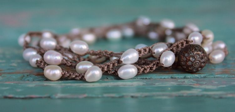 Fresh water pearl necklace with vintage clasp.  Hand knotted versatile pieces.  www.kellywrightart.com