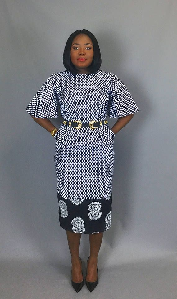 db136269b2a6 Black and white mix print classic fitted dress with flared sleeve .Very  flattering slim fit
