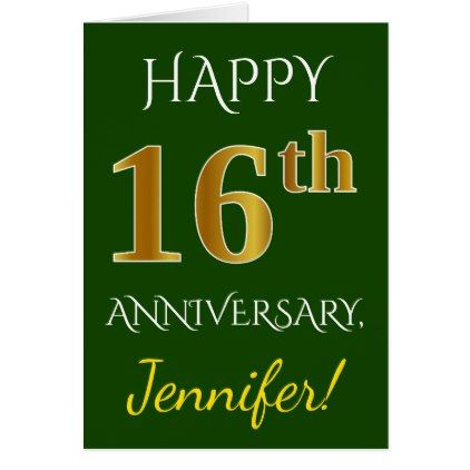 Green Faux Gold 16th Wedding Anniversary Name Card Zazzle Com 16th Wedding Anniversary 14th Wedding Anniversary Wedding Anniversary Greeting Cards