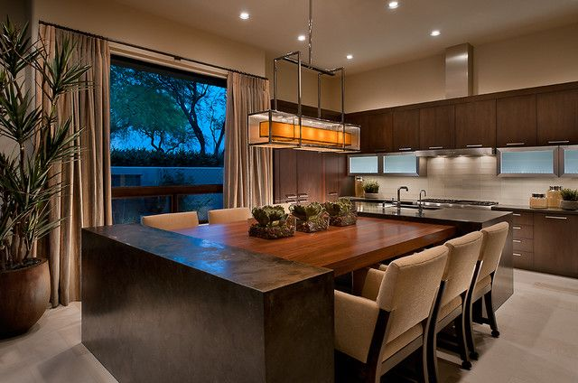 Add To Ideabook By Ownby Design By Ownby Design Soften The Windows With C Kitchen Island Table Combination Kitchen Island Dining Table Interior Design Kitchen