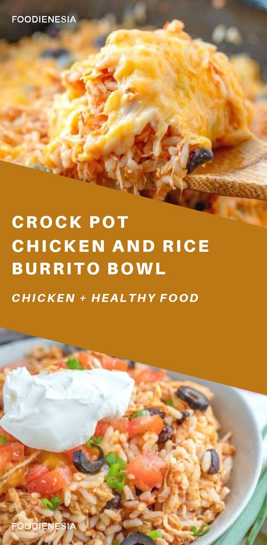 Crock Pot Chicken And Rice Burrito Bowl Recipe Brunch Casserole Recipes Crockpot Recipes Mexican Recipes