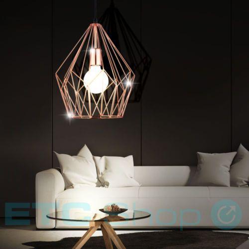 Decken Leuchte Haenge Wohnraum Lampe Metall Kaefig Kupfer