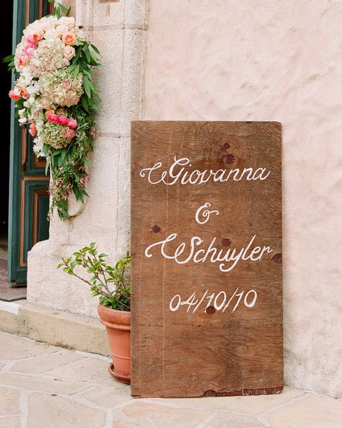 A Custom Sign Greeted Guests As They Entered This Ceremony Location Similar Wood Signs Were Used Throughout The Day Wedding Signage Pinterest
