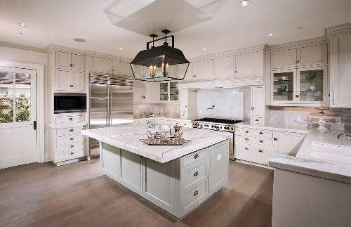2 Toned Hampton Style Kitchen In Creams With A Green Island Bench With Stunning Marble Tops