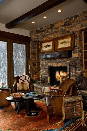 20 Cozy Cabin And Lodge Decorating Ideas Love The Fireplace