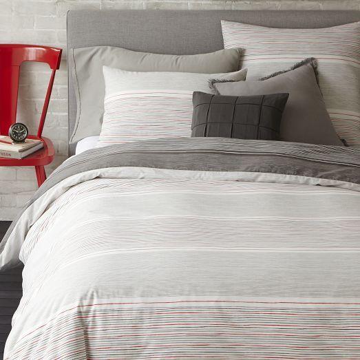 Skinny Mini Stripe Duvet Cover Shams Feather Gray Striped Duvet Covers Striped Duvet Gray Duvet Cover