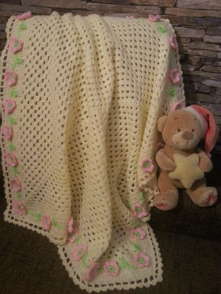 Babydecke Granny Square Wolle Gehäkelt Blumenranke Von Babys