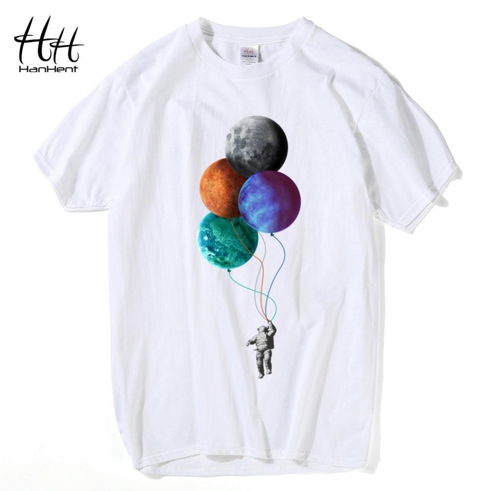 826e49139 HanHent Creative Moon T-shirts Men Summer Cotton Short Sleeve Tops Funny T  shirt 2018