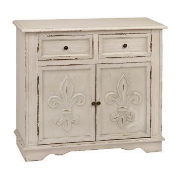 Antique White Fleur De Lis Double Cabinet