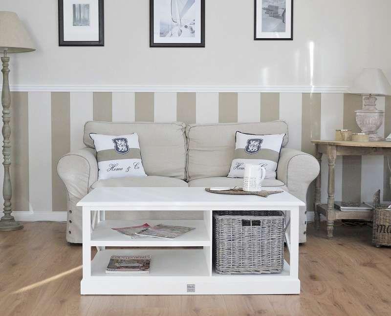 Couchtisch Coffeetable Hampton weiss Landhausstil Rattan 70×70