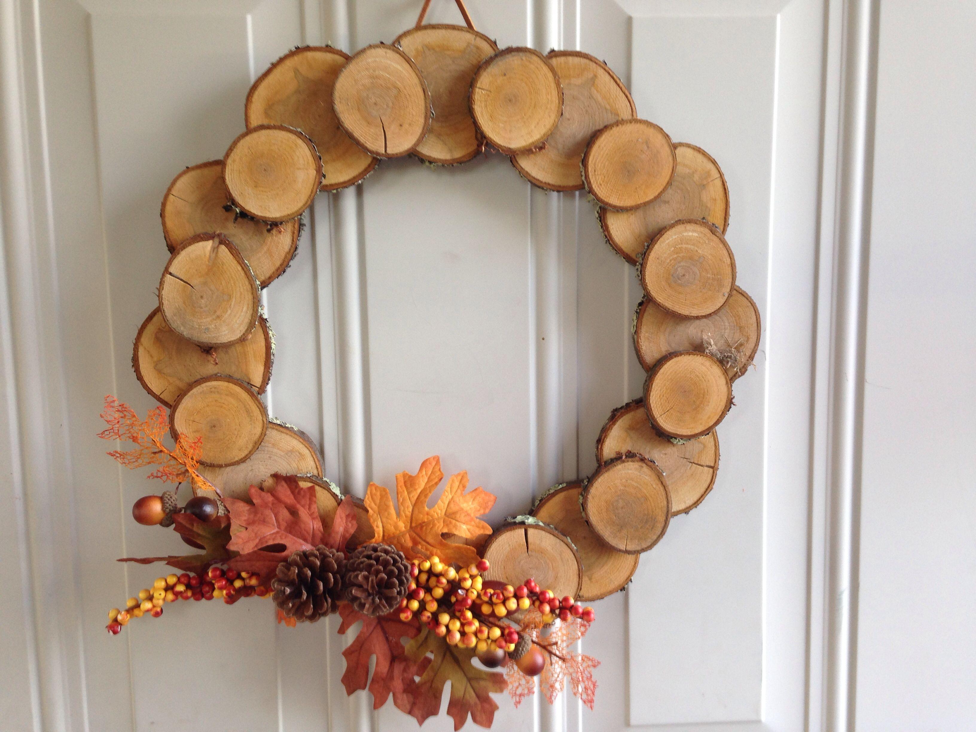 14 Quot Wood Disc Wreath Wood Disc Wood Circles Rustic Wreath