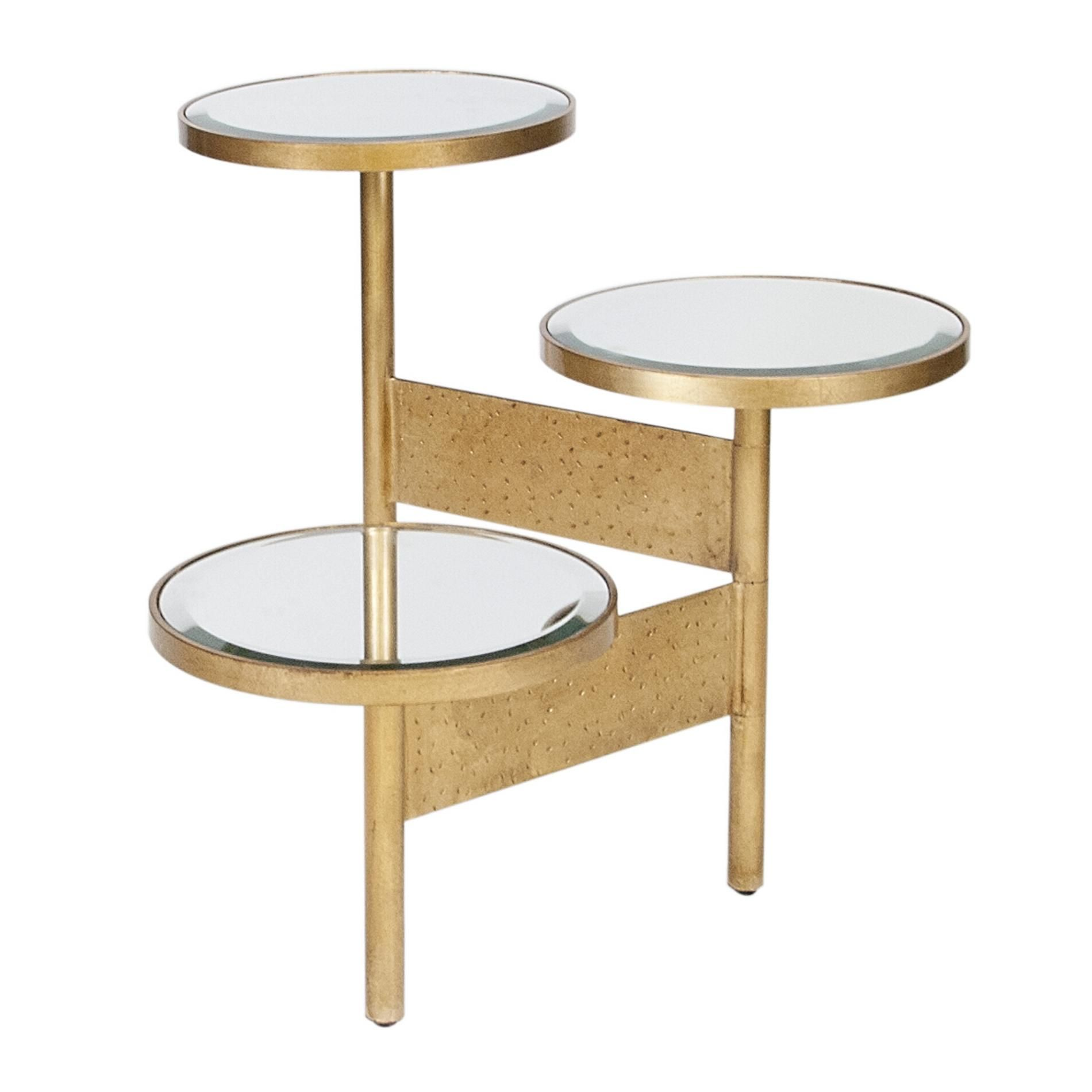 3 Tier Hinged Side Table In Gold Leaf Available With Beveled Mirror Or Black Marble Tops 26 H Adjustable Width And Depth Each Mi Side Table Table Furniture