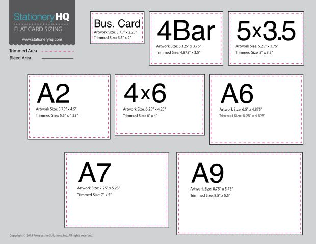 Wedding Invitations Sizes: Flat Card Size Chart