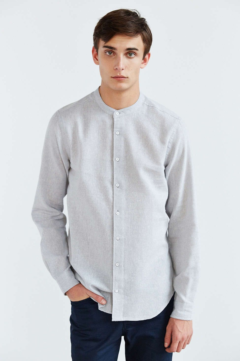 86c04ee556f6d The Narrows Linen Mandarin Collar Button-Down Shirt - Urban Outfitters