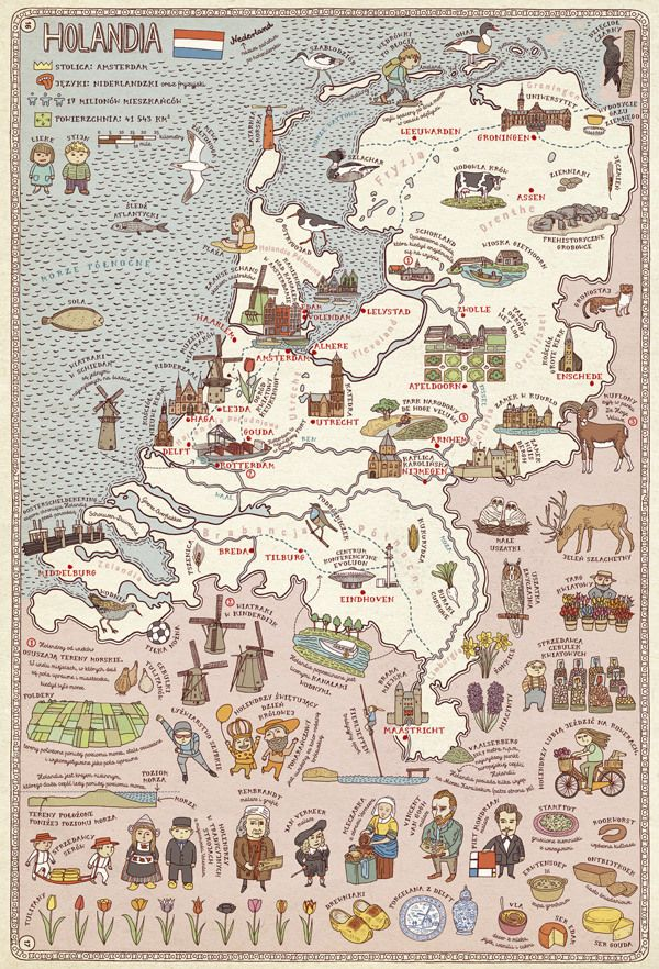 MAPS  Illustrated maps Holland and Netherlands