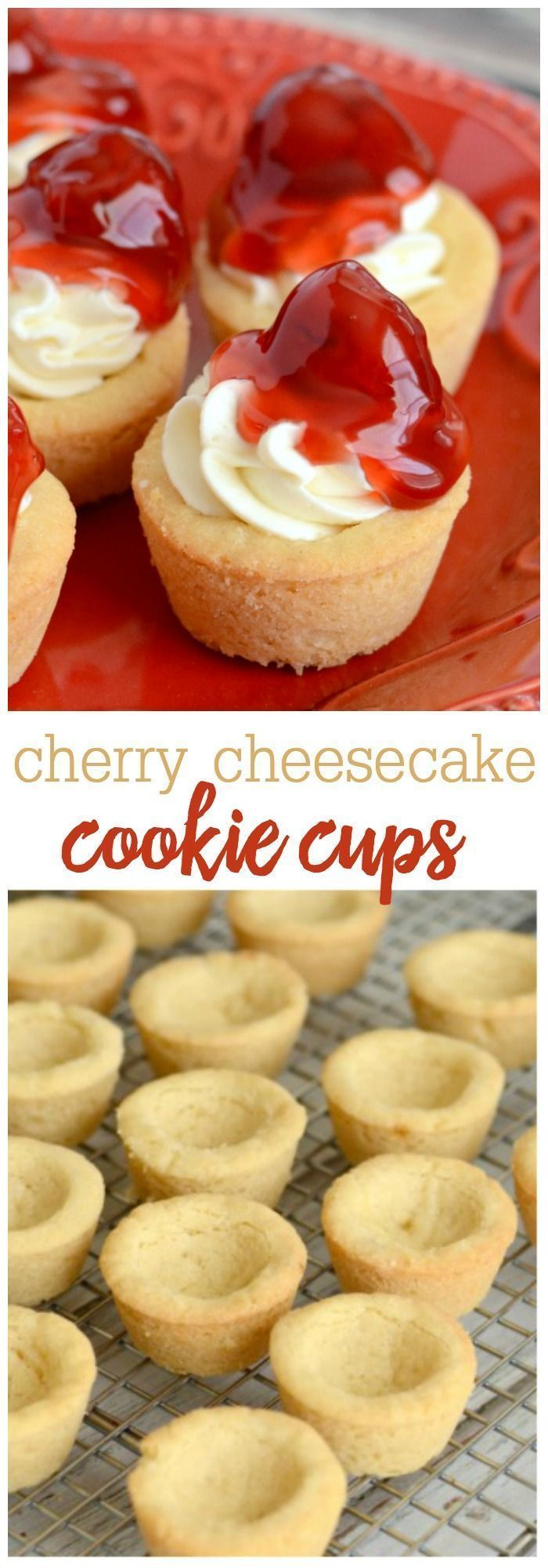 Mini Cherry Cheesecake Cookie Cups is part of Cookie cups recipe - Mini Cherry Cheesecake Cookie Cups  All the flavor of cherry cheesecake, served in mini sugar cookie cups! They're super easy to make and are perfect for serving a crowd!!