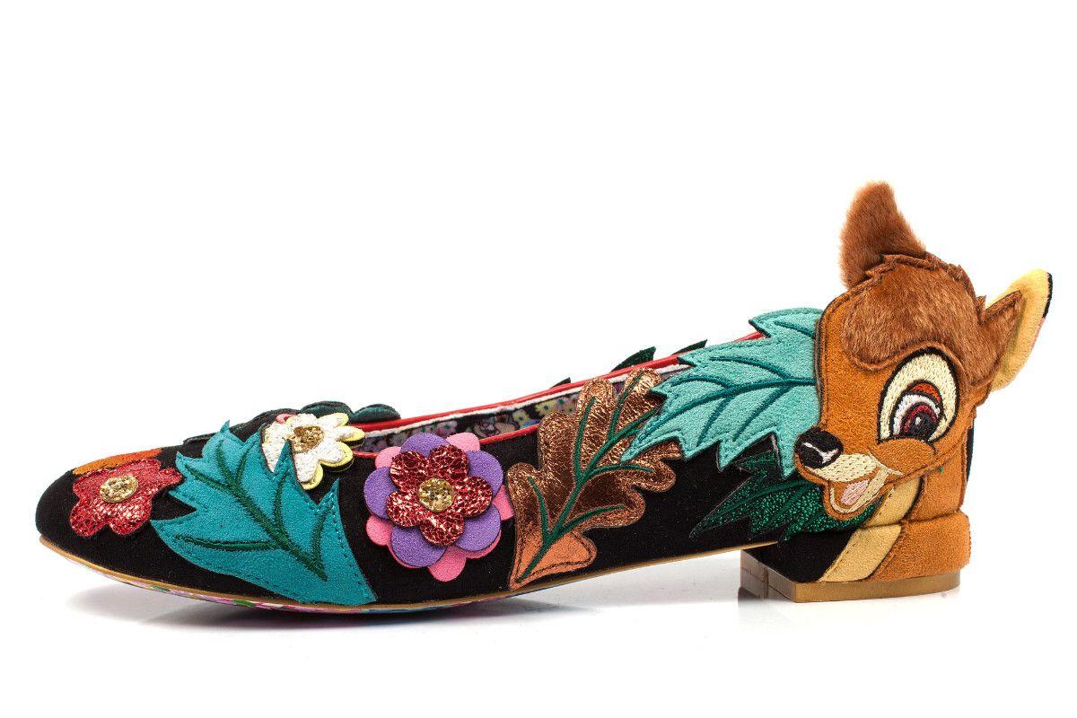 8d88e0b493a Irregular Choice Disney Bambi Sweet Little Prince Black Floral Low Heel  Shoes