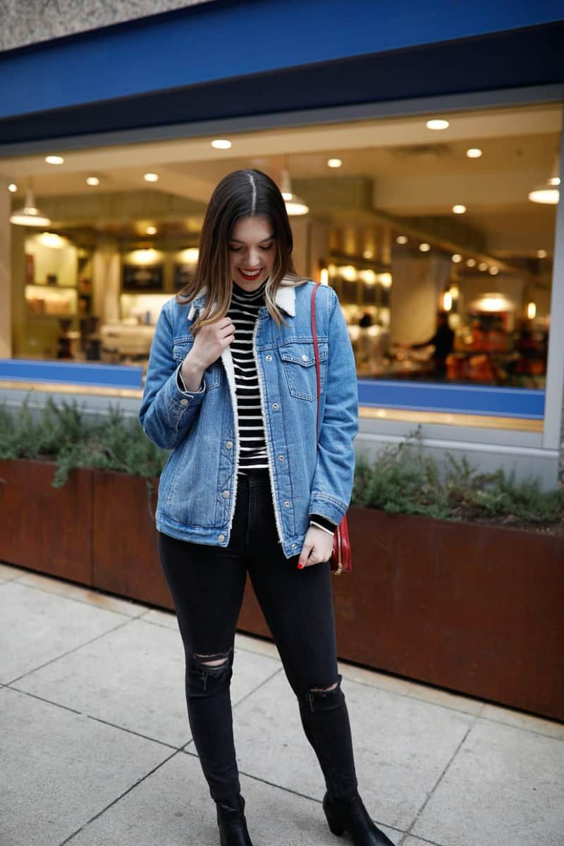 Wear This Sherpa Denim Jacket Every Weekend Just Ashley Lane Dallas Style Blog Jacket Outfit Women Sherpa Denim Jacket Denim Jacket Outfit [ 1200 x 800 Pixel ]
